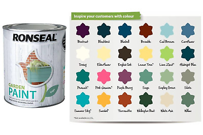 £8.45 • Buy Ronseal Outdoor Garden Paint - For Exterior Wood Metal Stone Brick - All Colours