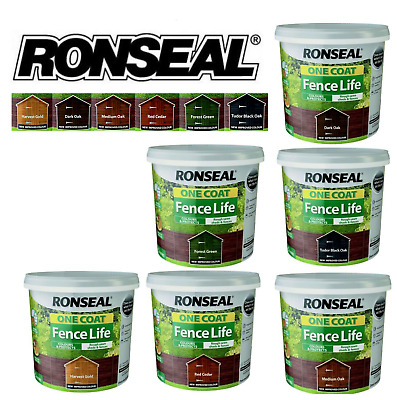 £10.95 • Buy Ronseal 5L One Coat Fence Life Quick Dry Garden Shed & Fence Paint All Colours!!