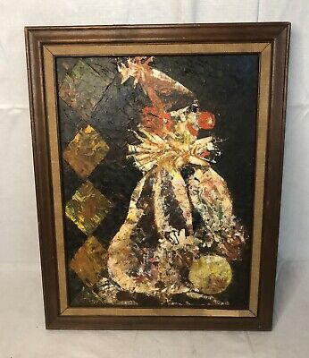 $ CDN60.60 • Buy Vintage Abstract Clown Oil On Canvas Board Painting Esther Freedman 1968
