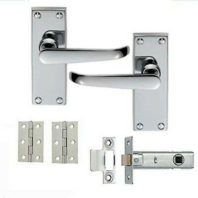 £7.45 • Buy 1 Set Of Victorian Straight Latch Door Handles Polished Chrome Hinges & Latch...