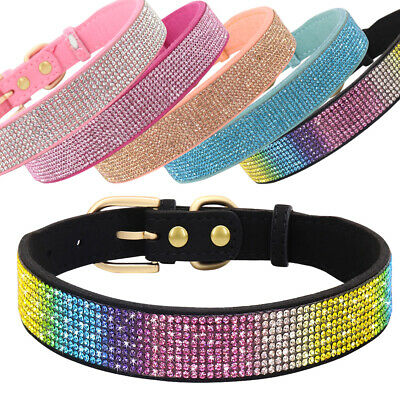 £6.99 • Buy Rhinestone Dog Collar PU Leather Crystal Diamond Necklace For Cats Small Dogs XS