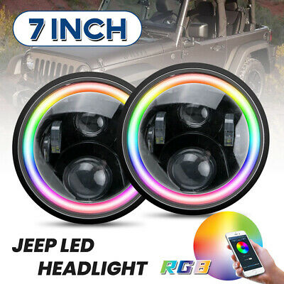AU116.32 • Buy 7inch RGB LED Projector Headlights Halo DRL For Patrol GQ For Jeep Wrangler