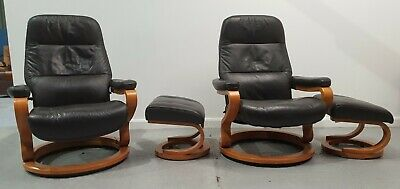 £950 • Buy Himolla Stressless 2 X Swivel Recliner Leather Chairs And Stools Brown 1312209