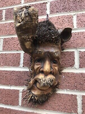 £19.99 • Buy ChiselCraft L Wooden Root Tree Spirit Face Green Man In Or Out Carving Wood 5
