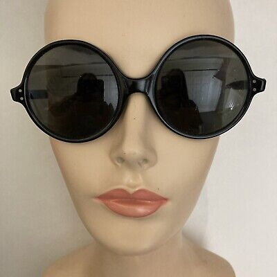 AU38.14 • Buy Vintage 60s Sunglasses Round Black Gray Glass Lenses Made In USA