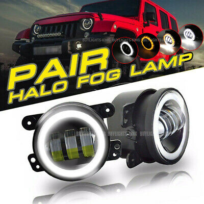 $40.22 • Buy 4'' LED Fog Lights White Angel Eye Halo Turn Signal For Chrysler 300 2005-2010