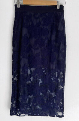AU29 • Buy VIKTORIA & WOODS Detailed Lace Navy Pencil Skirt Size 0 6