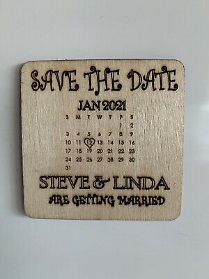 AU39 • Buy Timber Wood Save The Date Magnet Invitation Personalised Set Of 50 Pcs