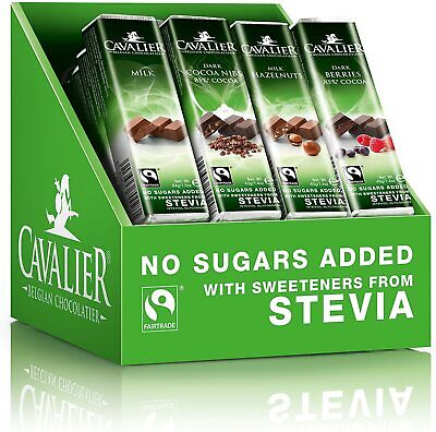 £41.85 • Buy Cavalier Stevia Chocolate Bars Assorted Solid 40g (Pack Of 32)
