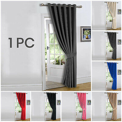 £15.99 • Buy Heavy Thermal Blackout Door Curtains Pair Of Eyelet Ring Top Ready Made Curtain