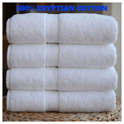 4X White Premium Quality 100% Egyptian Combed Cotton Soft & Fluffy Bath Towels  • 20.49£