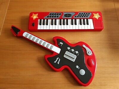 £9.99 • Buy Chad Valley Electronic Guitar & Light Up Keyboard Set, Red, Vgc, Tested Working