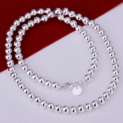 £7.99 • Buy 925 Silver 6mm Smooth Beads Ball Chain Necklace UK SELLER