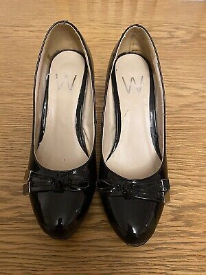 £4.70 • Buy Wallis W Black Patent Court Shoes With Bow Decoration Size 6