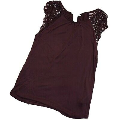 $3.99 • Buy H&M H & M Scalloped Lace Sleeve Top Burgundy Maroon XS X Small