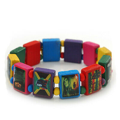 £5.99 • Buy Multicoloured Bob Marley  One Love  Wooden Stretch Bracelet - Up To 20cm Length