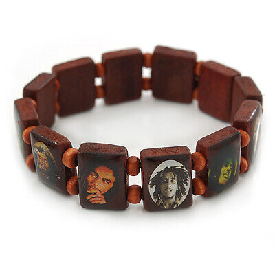 £5.50 • Buy Brown Bob Marley  One Love  Wooden Stretch Bracelet - Up To 20cm Length