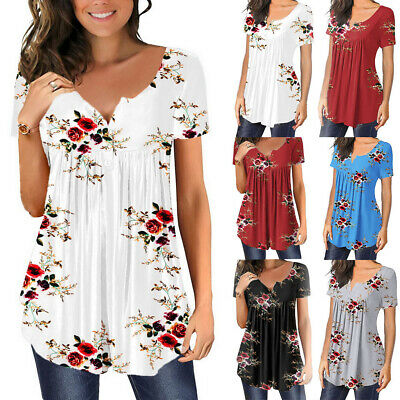 £8.69 • Buy Womens Ladies Floral Short Sleeve Tops T Shirts Casual Summer Loose Tunic Blouse
