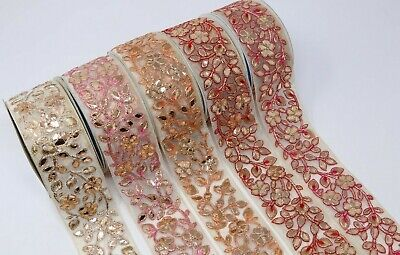 £5.49 • Buy 6cm Wide 1M Indian Embroidered With Gota Ribbon Decorative Lace Trim Craft Sewon