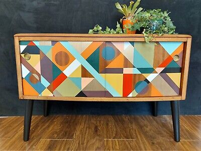 Hand Painted Up Cycled Geometric Design Retro Mid Century Cabinet • 325£