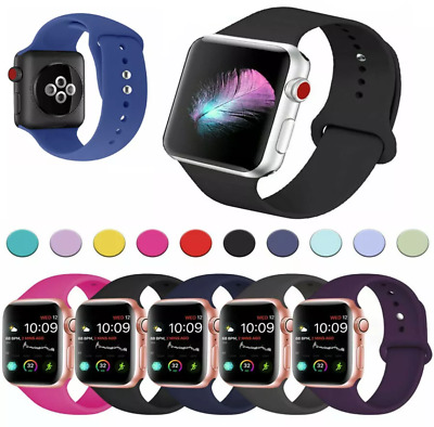 $ CDN5.15 • Buy For Apple Iwatch Series 6 Se 5 4 3 38/40/42/44mm Silcone Rubber Watch Strap Band