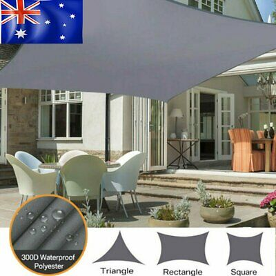 AU37.99 • Buy Waterproof Shade Sail Grey Rectangle Square Triangle Sun Awning 98% UV Block