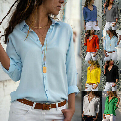 £8.69 • Buy Womens Button Up Plain Solid Shirts T Shirt Tops Tee Ladies Basic Office Wear