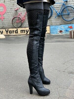 £495.59 • Buy 2k Stunning Authentic Chanel Black Leather CC Logo Thigh High Boots EU 39 US 9