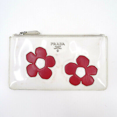 Prada Patent Leather Mini Clutch Bag White/Cream Pouch - Made In Italy Y2K • 49£