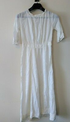 £88.72 • Buy Antique Edwardian Cotton Tea Lawn Sheer White Dress With Lace