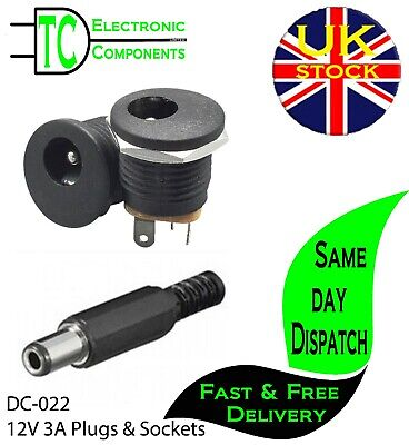 £3.99 • Buy DC-022 12V 3A 5.5x2.1mm DC Power Socket And Plugs Screw Nut Panel Mount
