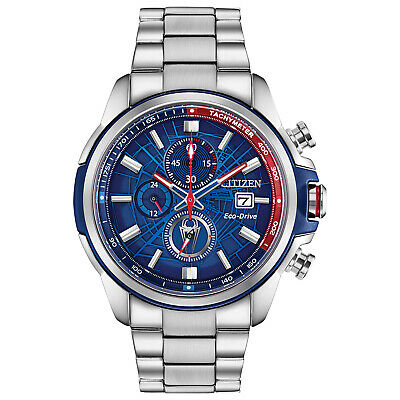 $158 • Buy Citizen Eco-Drive Chronograph Blue Dial 44mm Marvel Spider-Man Watch CA0429-53W