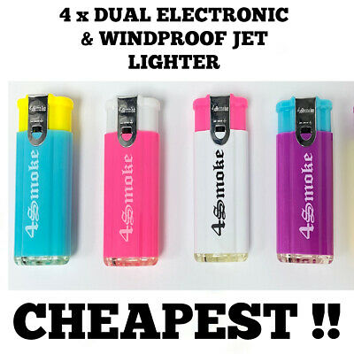 £4.29 • Buy 4 X DUAL ELECTRONIC & WINDPROOF TURBO JET FLAME ELECTRONIC LIGHTER (Refillable)