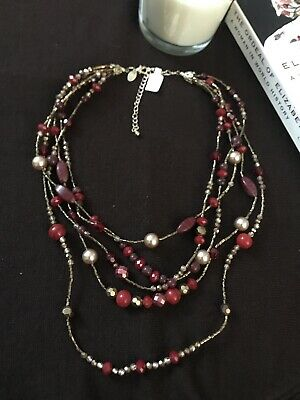 $ CDN4.83 • Buy NWOT Lia Sophia Multi Strand Necklace Gold Copper Tone Red Glass Stone Beads