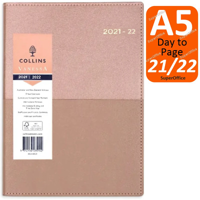 AU27.95 • Buy Collins Vanessa A5 Day To Page 2021-2022 Financial Year Diary Rose Gold FY DTP