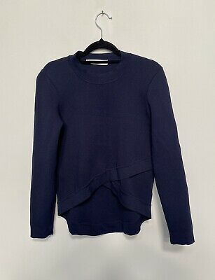 AU250 • Buy Scanlan Theodore Crepe Knit Asymmetrical Jumper Top In Navy- Size Small