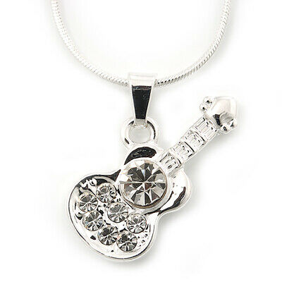 $ CDN14.45 • Buy Small Diamante 'Guitar' Pendant With Silver Tone Snake Style Chain - 42cm