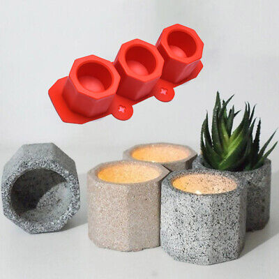 £4.79 • Buy 3 Cavity Silicone Pot Mold Clay Concrete Succulent Flower Cement Pot Cup Mo_JO