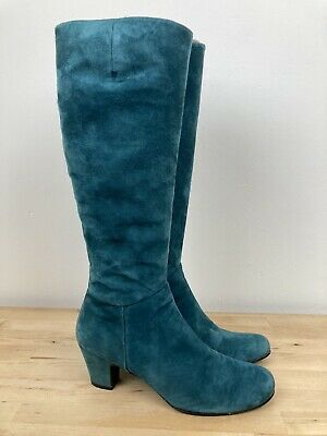 Audley London Teal Green Suede Leather Knee High Heeled Boots EU 39 UK 6 - RARE • 40£