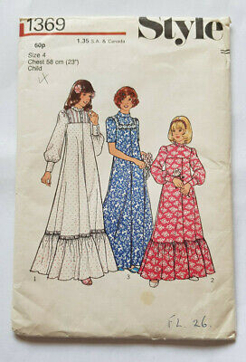 STYLE Pattern 1369 Girl's Bridesmaid Dress  Size 4 Chest 23  • 5.99£