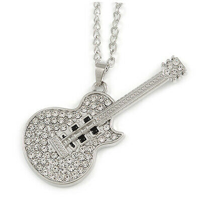 $ CDN16.59 • Buy Statement Crystal Guitar Pendant With Long Chunky Chain In Silver Tone - 68cm L