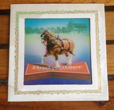 $ CDN9.67 • Buy Vintage Budweiser Clydesdales Glass Picture SIGN