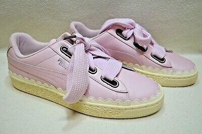 AU48.40 • Buy Puma Womens Basket Heart Scallop Sneakers Sz UK 7 Pink & White Great Condition