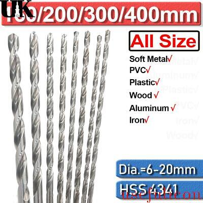 £4.91 • Buy 6mm-20mm Extra Long Woodworking HSS Twist Drill Bits For Metal Wood Drilling