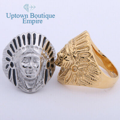 £9.22 • Buy Indian Chief Head Men's Stainless Steel Ring Size:8-13 #HH