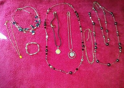 $ CDN49.98 • Buy Lia Sophia All Signed 9 Piece Jewelry Lot 7 Necklaces 1 Ring 1 Bracelet