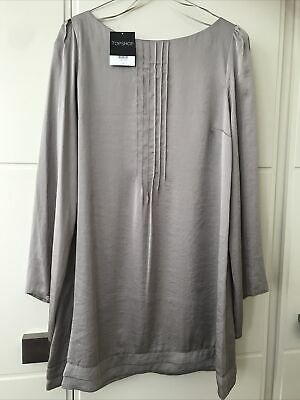 Stunning Topshop Pewter Silky Dress Size 12 • 15£