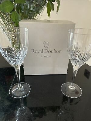 """2 X ROYAL DOULTON CRYSTAL MONIQUE  WINE GLASSES BOXED LARGE SIZE 8.25"""" By 3"""" • 17.99£"""