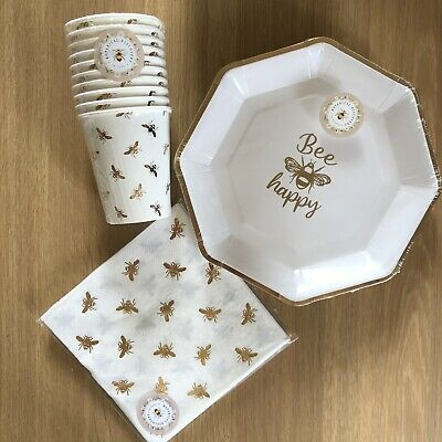 £12.99 • Buy Bee Gold Bumble Bee Disposable Birthday Party Tableware Cups Plates Napkin