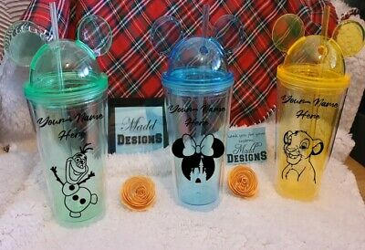 Disney Tumbler Cup, Lid And Straw Personalised With Your Name Or Design • 13.95£